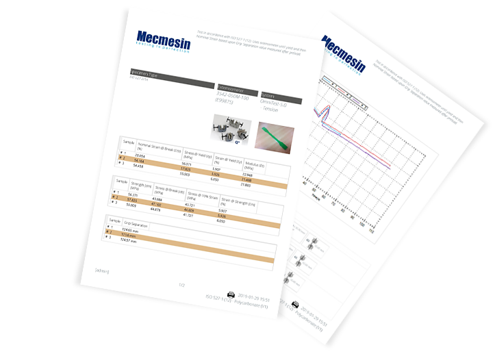 Example PDF reports generated by VectorPro MT materials testing software