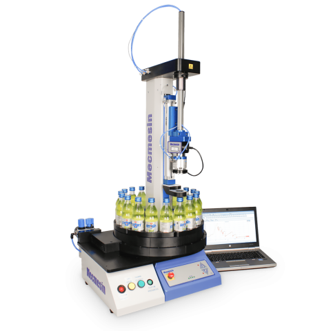ABC-t automated bottle closure testing system product shot with yellow bottles